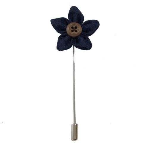 Navy Blue Button Up Lapel Rose Pin Boutonniere