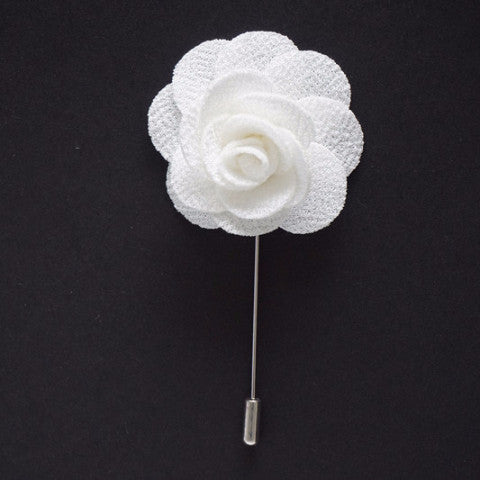 Snow Lapel Pin Rose Boutonniere
