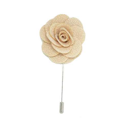 Cream Lapel Pin Rose Boutonniere