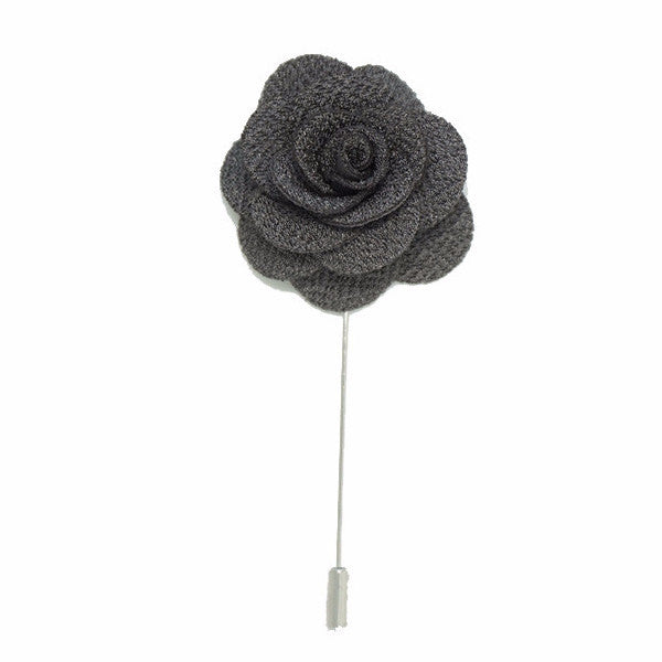 Graphite Lapel Pin Rose Boutonniere