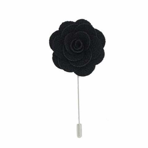 Midnight Lapel Pin Rose Boutonniere