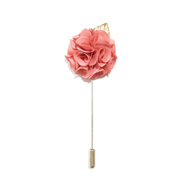 Royal Pink Lapel Rose Pin Boutonniere