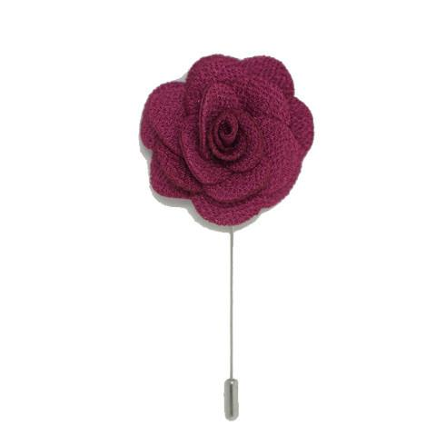 Lapel Pin Rose Wine Red