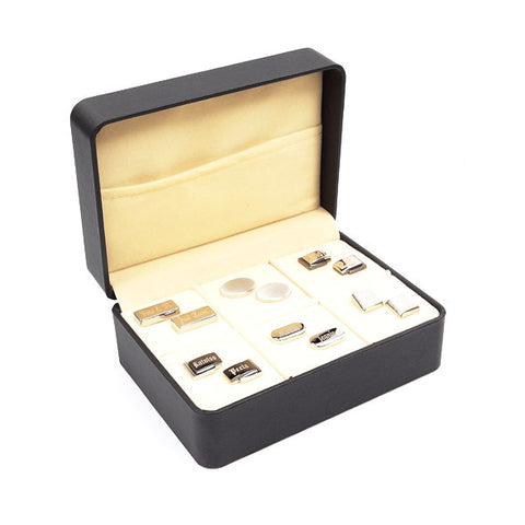 Black Cufflinks Storage Case 6 Pair Gift Box