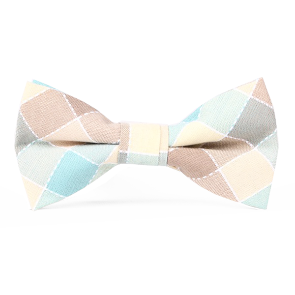 Pastel Blue and Brown Checkered Cotton Bow Tie - Ingrid