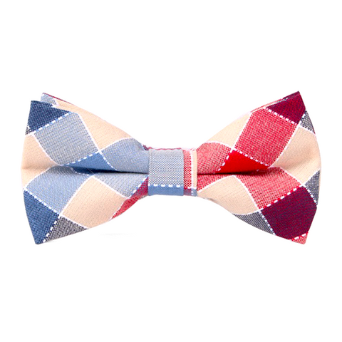 Red and Blue Cotton Checkered Bowtie - Christine