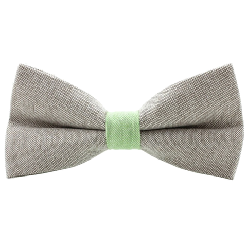Green and Grey Textured Cotton Bow Tie - Picolo