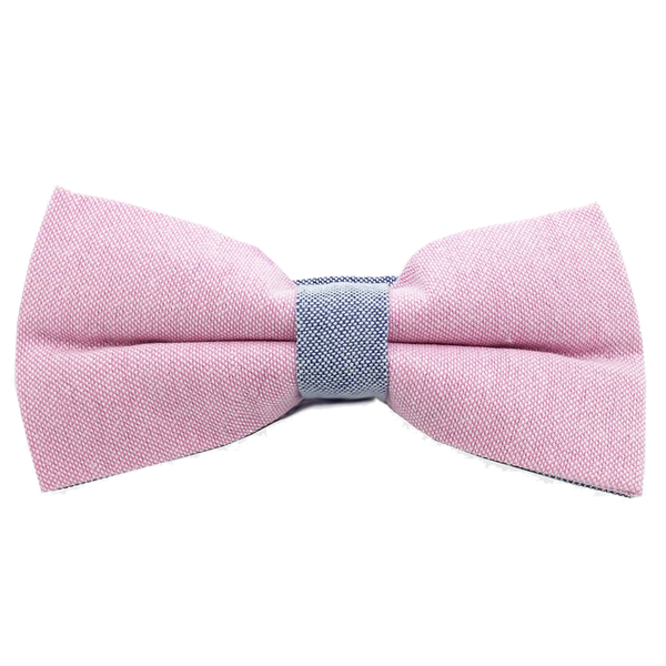 Pink and Grey Textured Cotton Bow Tie