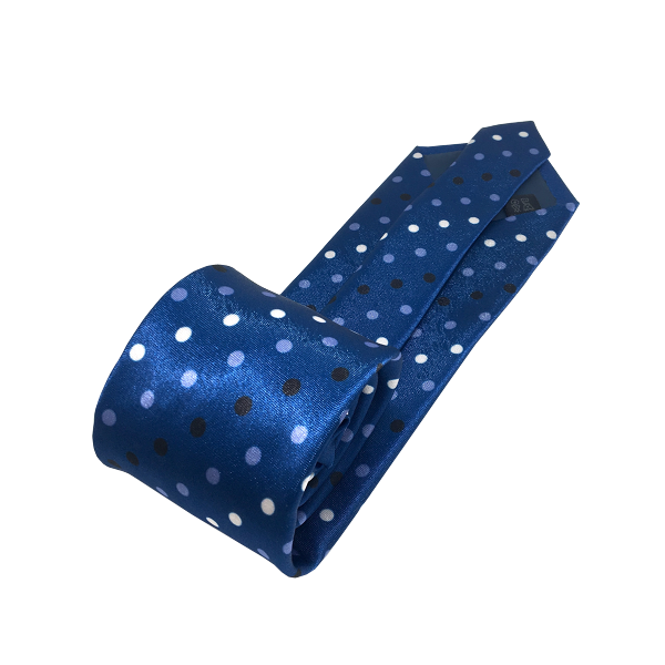 Ties - Blue Polka Dot Silk Tie - Anton - The Little Link