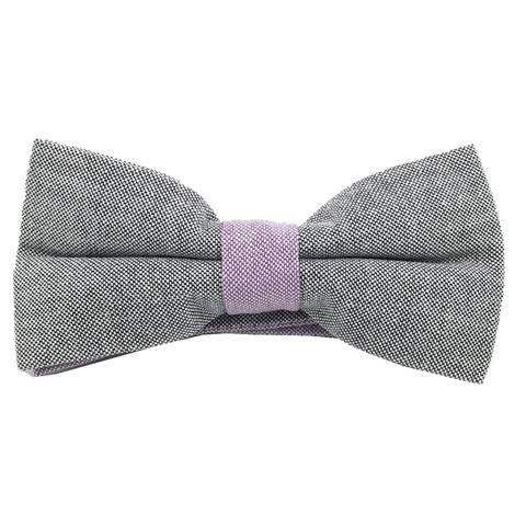 Bowties - Grey and Purple Textured Cotton Bow Tie - Andrew - The Little Link
