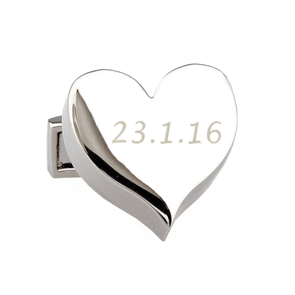 Silver Engravable Custom Cufflinks - Heart