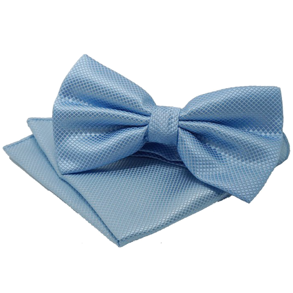 Blue Textured Satin Bowtie and Pocket Square Set - Curtis