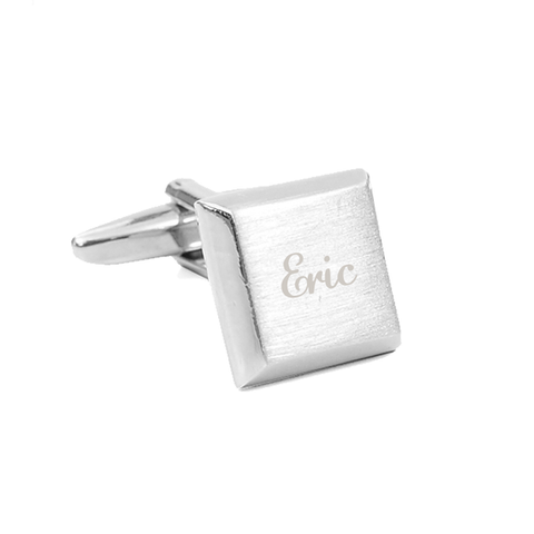 Silver Custom Engravable Square Cufflinks - Erica