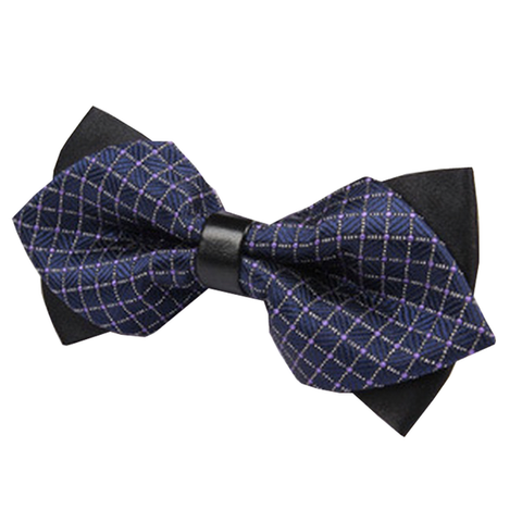 Bowties - Navy Blue and Black Checkered Double Bow Tie - Cameron - The Little Link