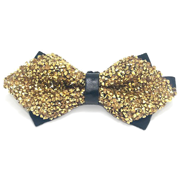 Gold and Black Crystal Bow Tie - Elias