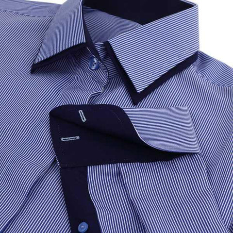 Shirts - 100% Cotton French Cuff Shirt - Navy Pinstripe - The Little Link
