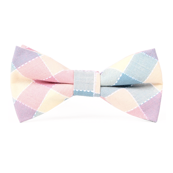 Pastel Blue and Pink Checkered Bow Tie - Marilyn