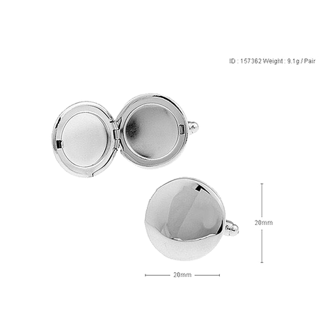 Silver Custom Photo Cufflinks - Round Locket