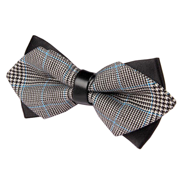 Black and Blue Plaid Double Bow Tie - Sherlock