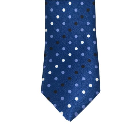 Ties - Blue Polka Dot Silk Necktie - Anton - The Little Link