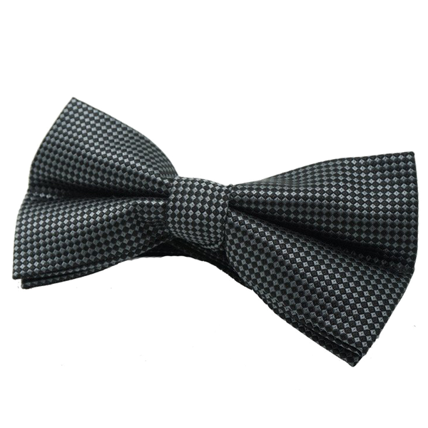 Black and Grey Checkered Satin Bow Tie - Jackson