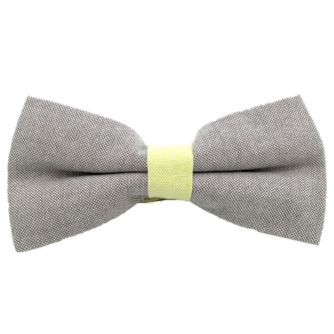 Grey and Yellow Textured Cotton Bow Tie - Daniel