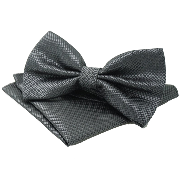 Bowties - Grey Textured Satin Bowtie and Pocket Square Set - Christine - The Little Link