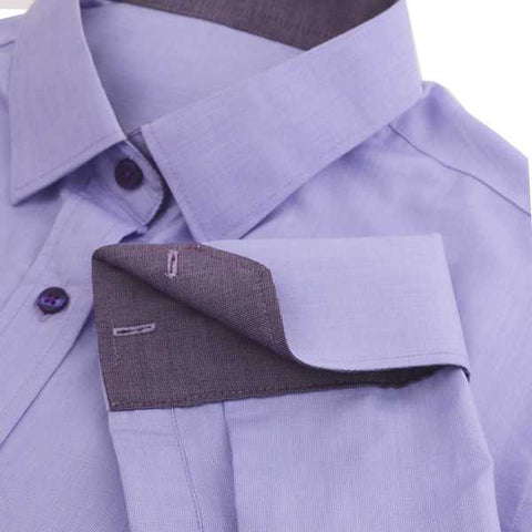 Shirts - 100% Cotton French Cuff Shirt - Purple - The Little Link