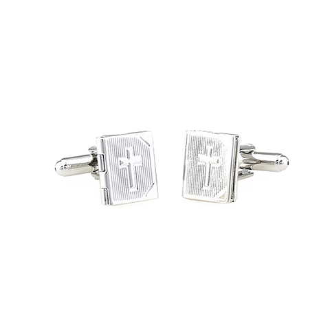 Silver Christian Customizable Cufflinks - The Cross Locket