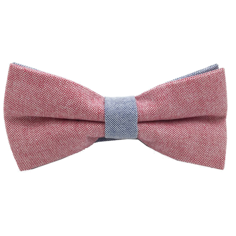 Red and Blue Textured Cotton Bow Tie - Luke