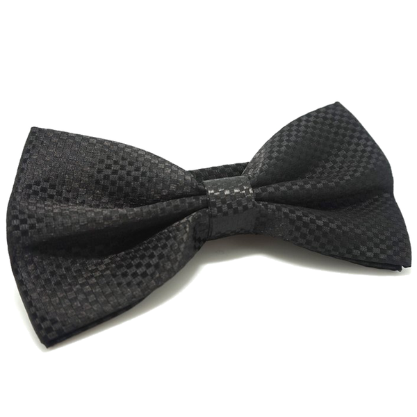 Black Textured Satin Bow Tie - Eric