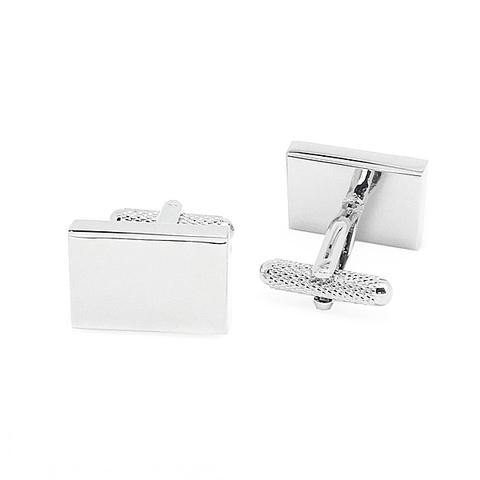 Silver Rectangular Engravable Cufflnks - Jake R4