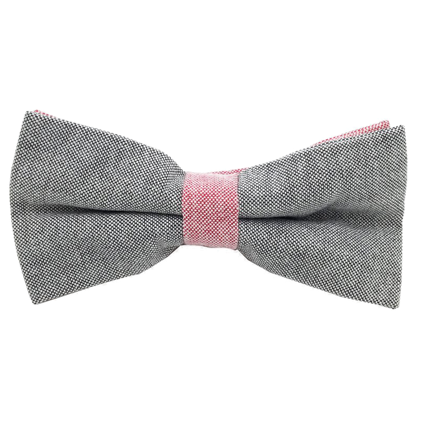 Grey and Red Textured Cotton Bow Tie - Sebastian