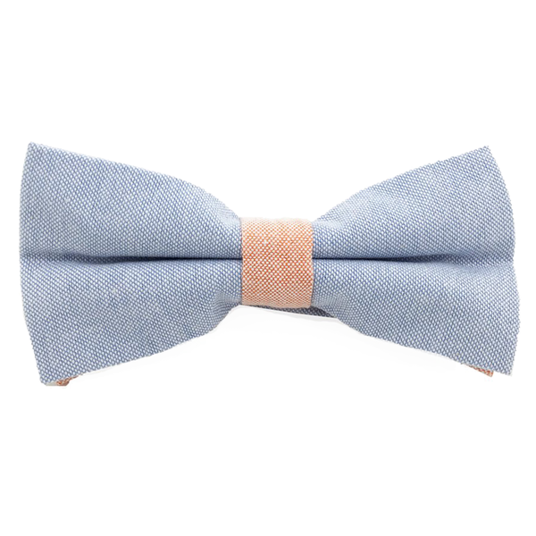 Bowties - Blue and Orange Textured Cotton Bow Tie - Anthony - The Little Link