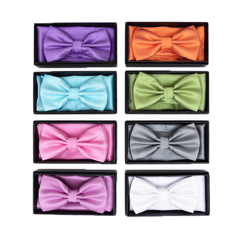 Purple Textured Satin Bow Tie and Pocket Square Box Set - Hunter