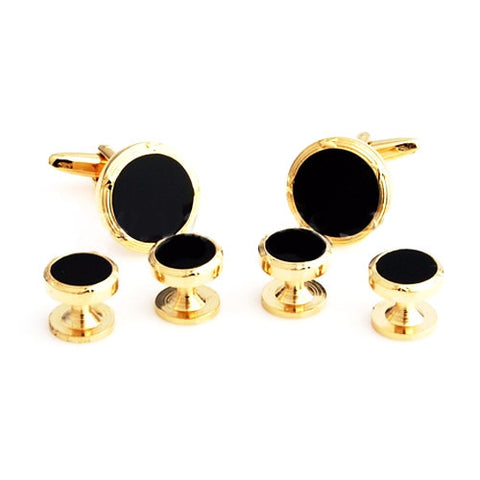Black and Gold Round Tuxedo Studs - Houdini