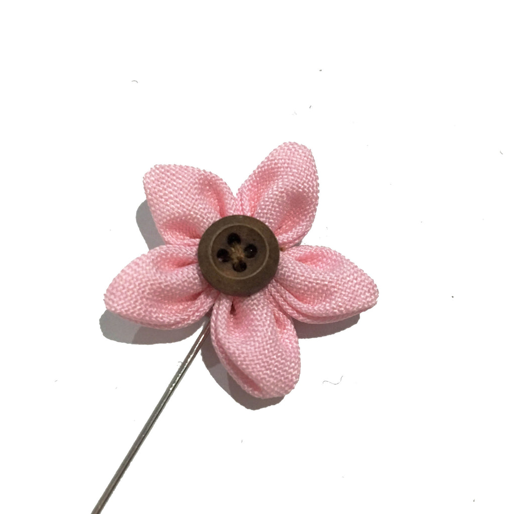 Lapel Pins - Pink Button Up Lapel Rose - The Little Link