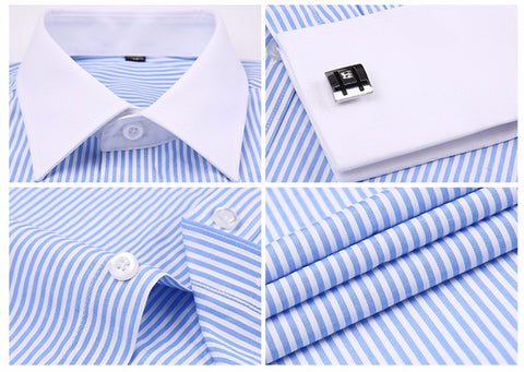 Shirts - French Cuff Dress Shirt - Blue Striped - The Little Link