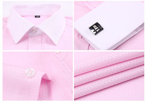 Shirts - French Cuff Dress Shirt - Pink - The Little Link