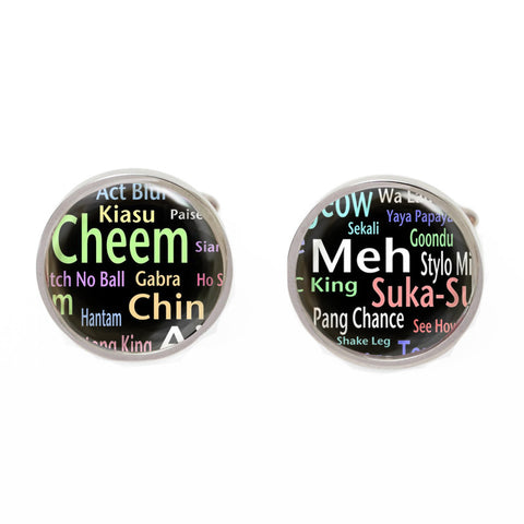 Black Novelty Singapore Cufflinks - Singlish Dictionary