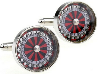 Red and Black Poker Cufflinks - Roulette