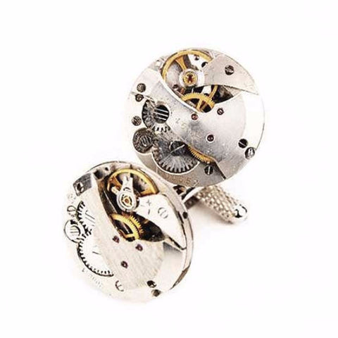 Watch Movement Cufflinks - Exposed Gear Cufflinks by Blue Pendulum - Silver - The Little Link