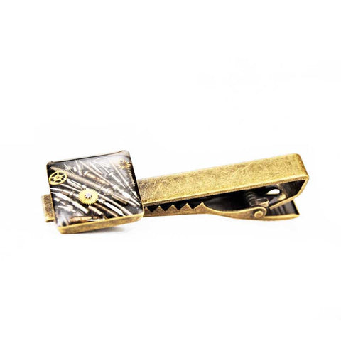 Tie Clips - Steampunk Tie Clip by Blue Pendulum - Antique Brass - The Little Link