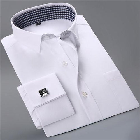 French Cuff Dress Shirt - Chequered White