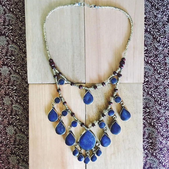 Two tier tribal lapis lazuli stone necklace - Lost Lover - 1