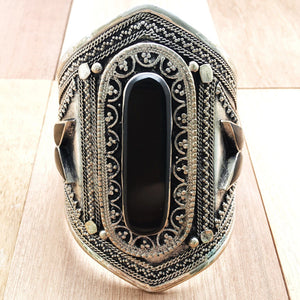 Black stone tribal cuff - Bracelet - Bohemian Jewellery and Homewares - Lost Lover