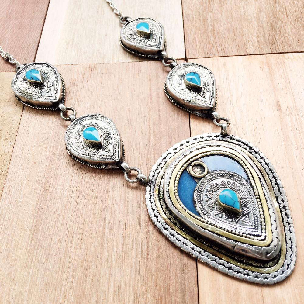 Chunky Tribal Pendant Necklace - Turquoise - Lost Lover - 1
