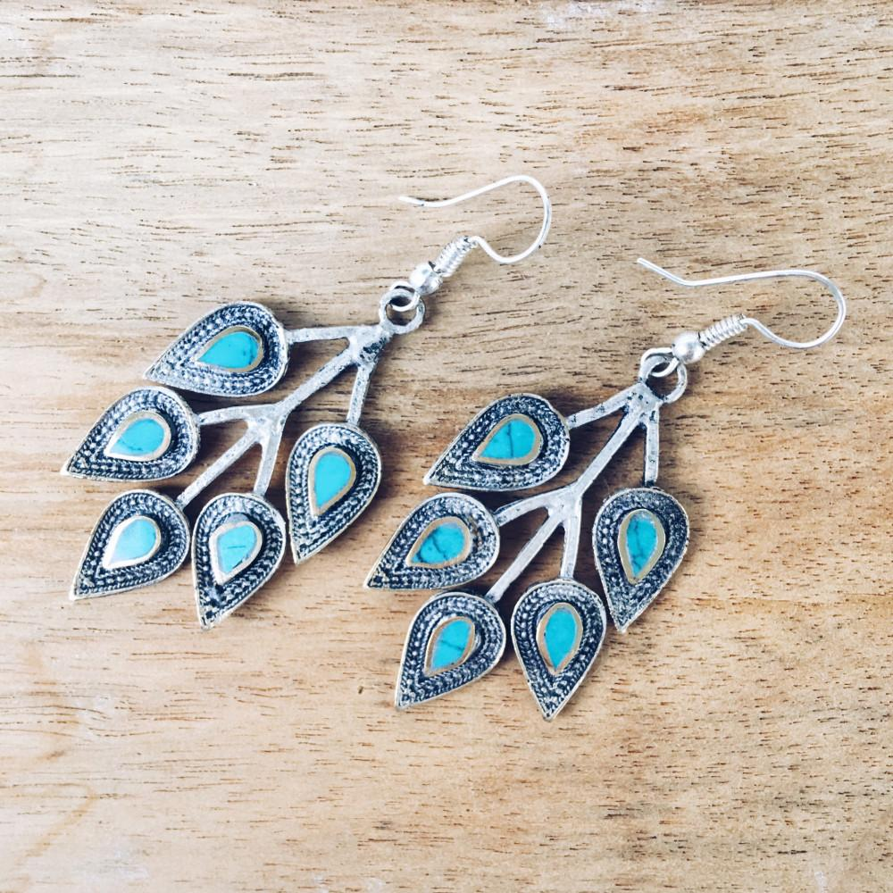 Leaf tribal earrings - Turquoise - Lost Lover - 1
