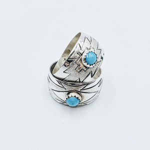 Butterfly Pattern Turquoise Ring - Ring - Bohemian Jewellery and Homewares - Lost Lover
