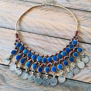 Tribal Lapis Stone Coin Necklace - Necklace - Bohemian Jewellery and Homewares - Lost Lover